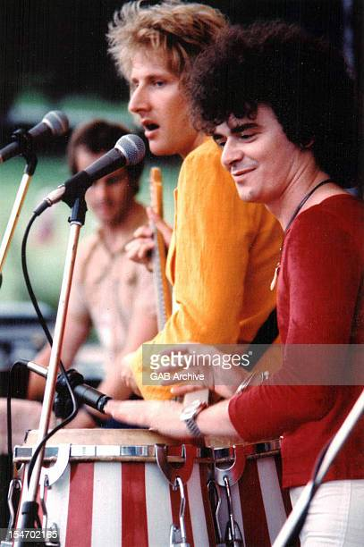 Photo of Australian group Air Supply performing live circa 1976 Left to right Graham Russell and Russell Hitchcock