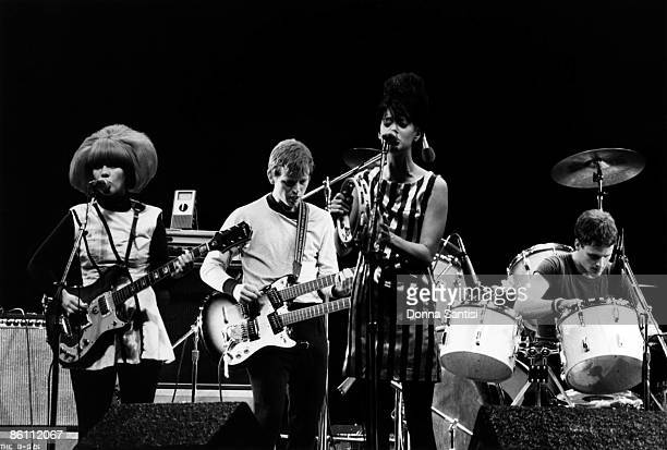 Photo of B52's and Keith STRICKLAND and Cindy WILSON and B52'S and Kate PIERSON Performing live on stage at the Greek Theatre LR Cindy Wilson Ricky...