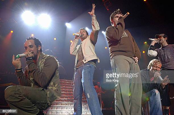 Photo of BACKSTREET BOYS LR AJ McLean Howie Dorough Nick Carter Brian Littrell Kevin Richardson live at SEC