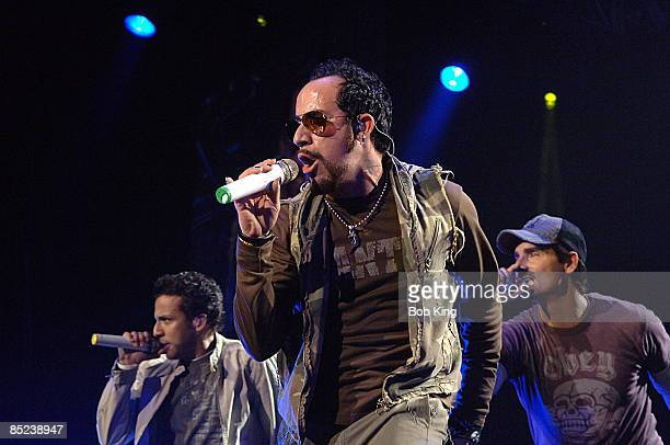 Photo of BACKSTREET BOYS LR Howie Dorough AJ McLean Kevin Richardson live at SEC