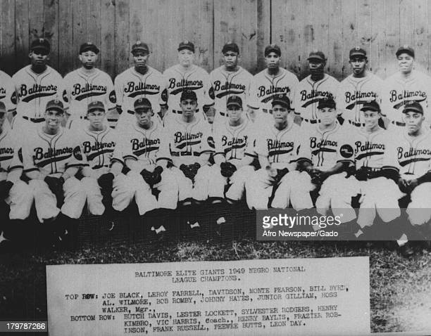 Photo of Baltimore Elite Giants 1949 Negro National League Champions with inscription, 'Gone but not Forgotten - MPT,' 1949.