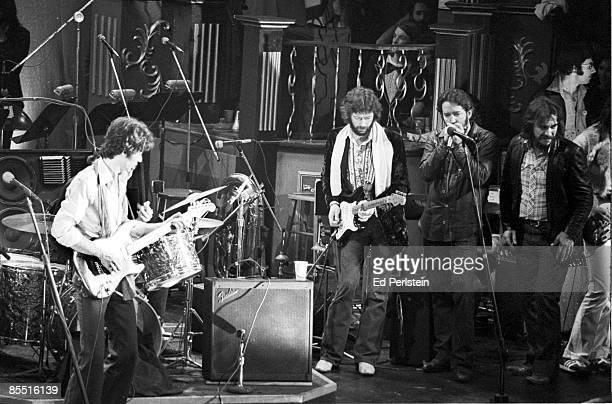 BALLROOM Photo of BAND Eric Clapton @ The Band's Last Waltz Winterland Arena San Francisco LR Robbie Robertson Eric Clapton Paul Butterfield