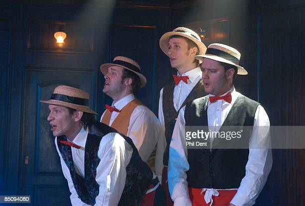 Photo of BARBERSHOP QUARTET Group portrait of a Barbershop Quartet performing