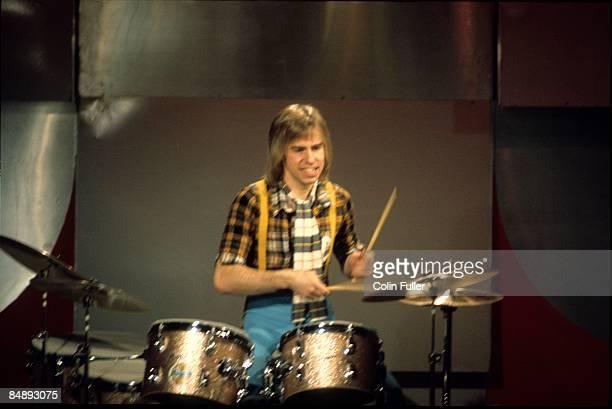 CENTRE Photo of BAY CITY ROLLERS and Derek LONGMUIR Drummer Derek Longmuir performing on tv show