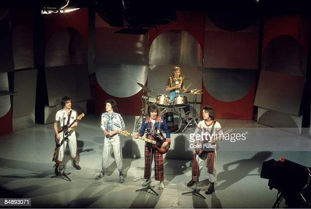 CENTRE Photo of BAY CITY ROLLERS and Eric FAULKNER and Les McKEOWN and Alan LONGMUIR and Derek LONGMUIR and Stuart WOOD Group performing on tv show...