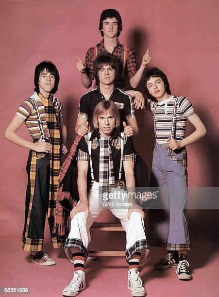 Photo of BAY CITY ROLLERS Group portrait Stuart 'Woody' Wood Les McKeown Eric Faulkner Alan Longmuirand Derek Longmuir