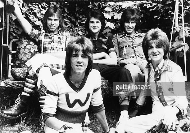 Photo of BAY CITY ROLLERS LR Derek Longmuir Stuart 'Woody' Wood Les McKeown Alan Longmuir Eric Faulkner
