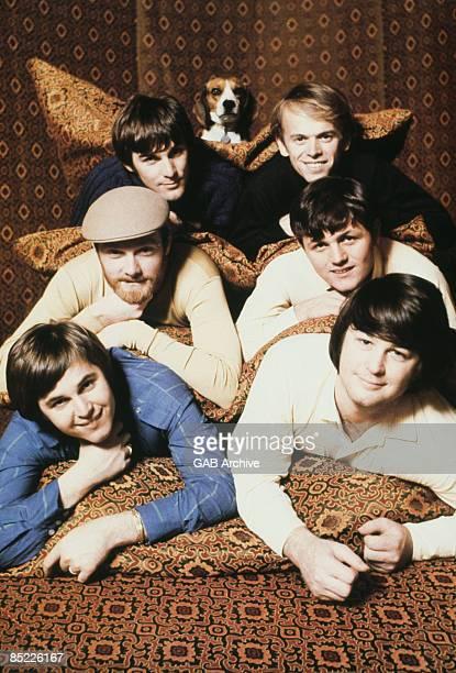 Photo of BEACH BOYS and Brian WILSON, - Top: Dennis Wilson, Al Jardine, Middle: Mike Love, Bruce Johnston, Bottom: Carl Wilson, Brian Wilson