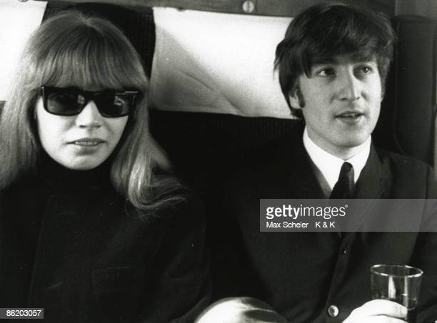 Photo of BEATLES and Astrid KIRCHHERR and John LENNON with Astrid Kirchherr posed during the filming of The Beatles' A Hard Day's Night