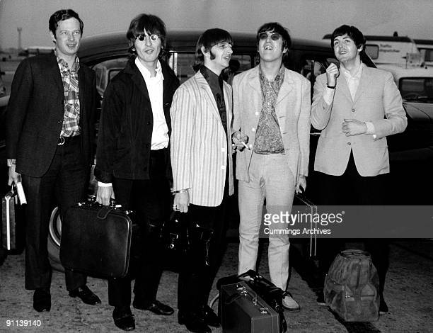 Photo of BEATLES and Brian EPSTEIN LR Brian Epstein George Harrison Ringo Starr John Lennon Paul McCartney arriving back at Heathrow from their Far...