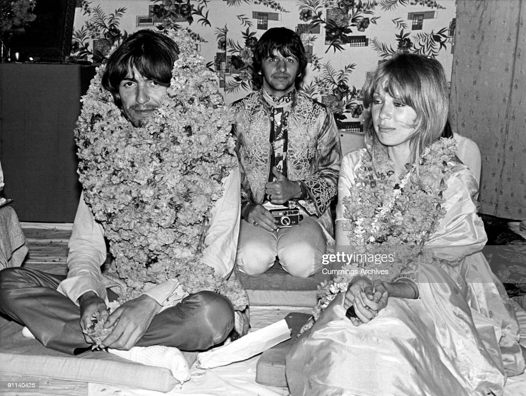 Photo of BEATLES and Pattie BOYD and Ringo STARR and George HARRISON; L-R. George Harrison, Ringo Starr, Pattie Boyd at a party to celebrate Harrison's 25th birthday at Rishikesh, India, 25th February 1968.