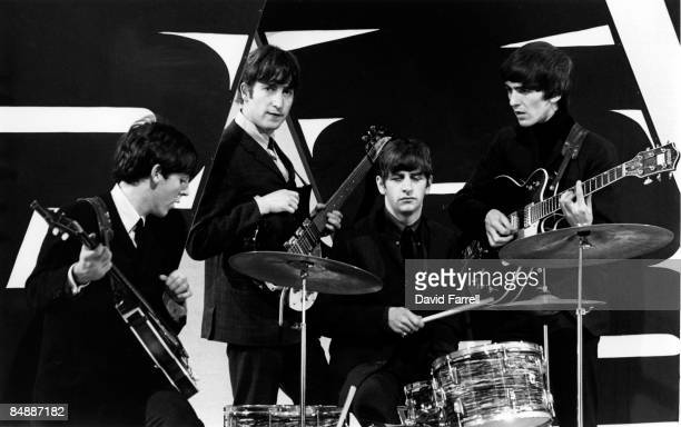 STARS Photo of BEATLES and Paul McCARTNEY and John LENNON and Ringo STARR and George HARRISON Group portrait on set of tv show at Alpha Television...