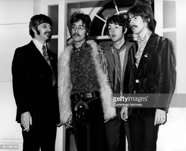 Photo of BEATLES and Paul McCARTNEY and John LENNON and Ringo STARR LR Ringo Starr John Lennon Paul McCartney George Harrison posed group shot at...