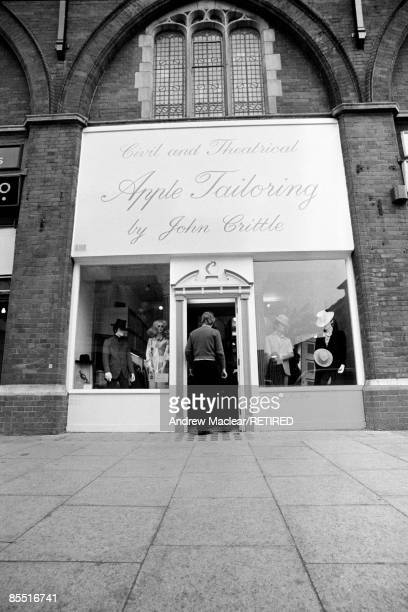 Photo of BEATLES Exterior of The Beatles' Apple boutique at 161 King's Road London The sign reads 'Civil and Theatrical Apple Tailoring by John...