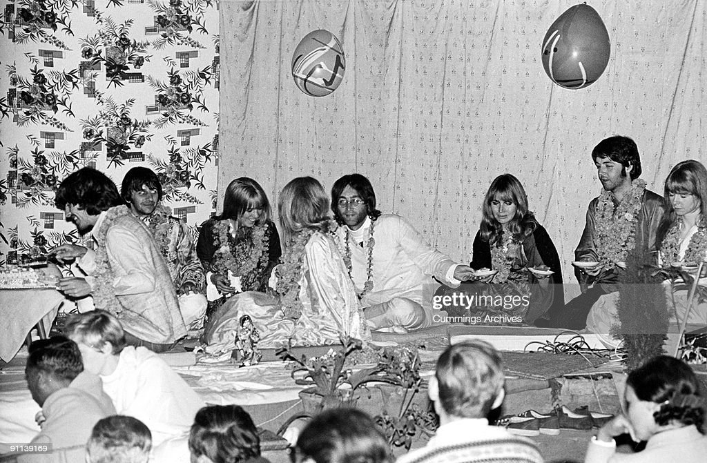 Photo of BEATLES; George Harrison, Ringo Starr, John lennon & Paul McCartney with actress Jane Asher, Maureen Starkey and Pattie Boyd at a party to celebrate the musician's 25th birthday at Rishikesh, India, 25th February 1968.