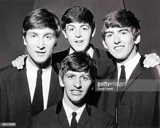 John Lennon Ringo Starr Paul McCartney George Harrison posed group shot at Alpha Television Studios Aston Birmingham