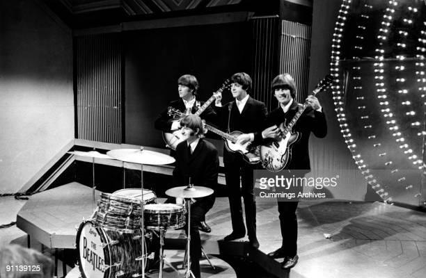 POPS Photo of BEATLES LR John Lennon Ringo Starr Paul McCartney George Harrison performing 'Paperback Writer' 'Rain'