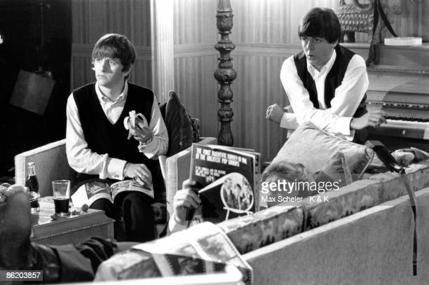 TWICKENHAM Photo of BEATLES LR Ringo Starr John Lennon Paul McCartney on set at Twickenham Film Studios during the filming of A Hard Day's Night