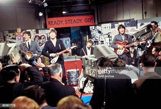 Photo of BEATLES, - - Paul McCartney, John Lennon, Ringo Starr & George Harrison performing on Ready Steady Go! at Television House, Kingsway