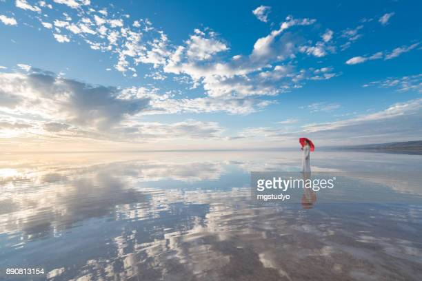 photo of beautiful young woman with umbrella on the wonderful sky background - impressionante foto e immagini stock