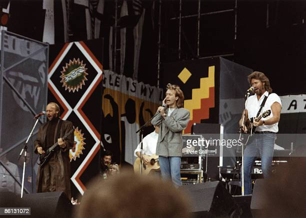 Photo of BEE GEES and Maurice GIBB and Robin GIBB and Barry GIBB Group performing on stage at the Nelson Mandela 70th Birthday Tribute concert LR...