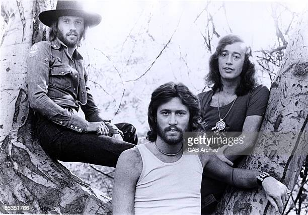 Photo of BEE GEES Group portrait LR Maurice Barry and Robin Gibb