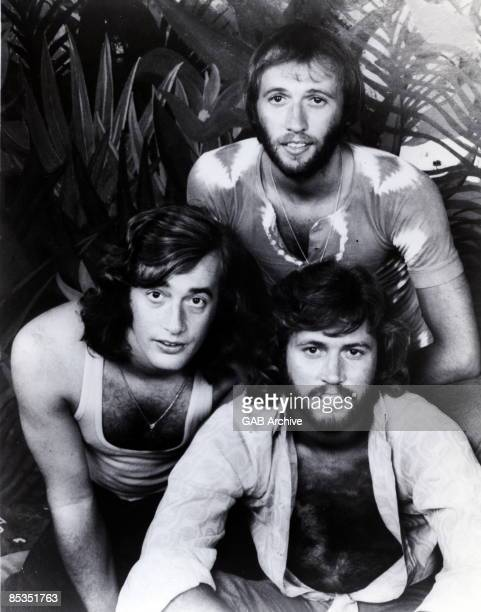 Photo of BEE GEES Group portrait Robin Maurice and Barry Gibb