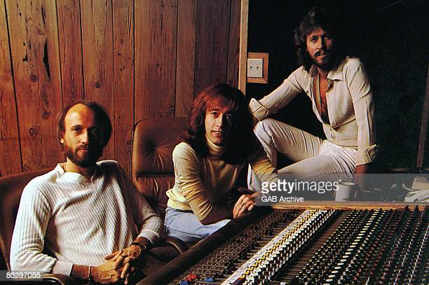 Photo of BEE GEES LR Maurice Gibb Robin Gibb Barry Gibb