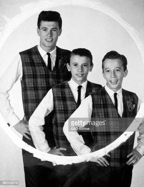 Photo of BEE GEES posed circa 1963. Left to right: Barry Gibb, Maurice Gibb and Robin Gibb.