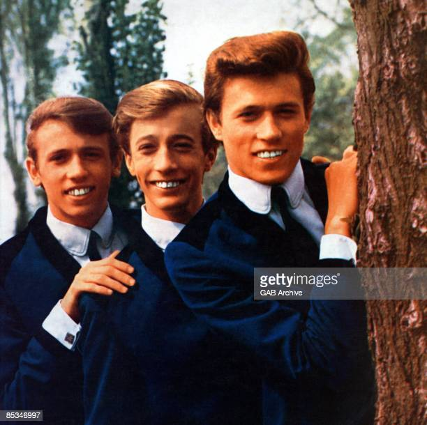 Photo of BEE GEES posed together in 1964 Left to right Maurice Gibb Robin Gibb and Barry Gibb