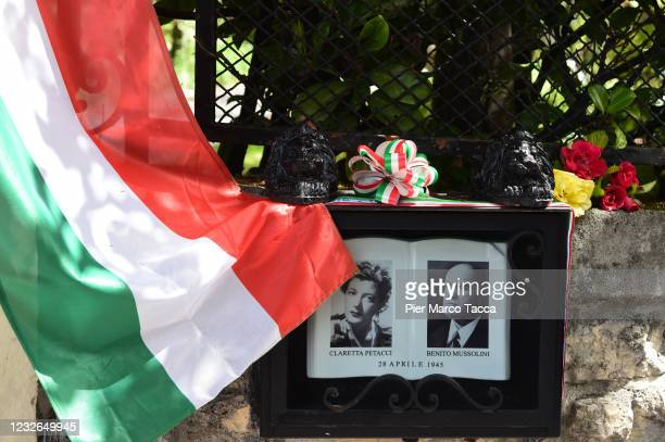 Photo of Benito Mussolini is displayed during ceremony for the death of Italian dictator Benito Mussolini and his mistress, Claretta Petacci in front...