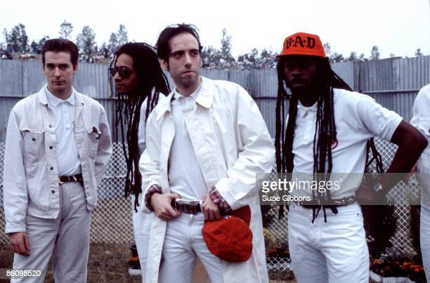 Photo of BIG AUDIO DYNAMITE and Don LETTS and Mick JONES; L-R Gregg Roberts, Don Letts, Mick Jones, Leo Williams