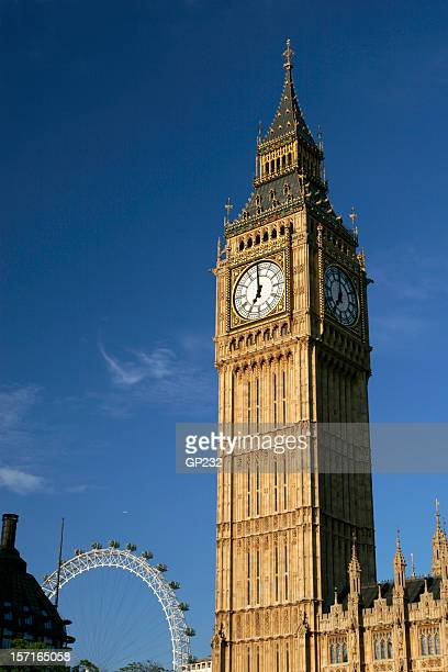 Photo of Big Ben and London Eye with a sky view background