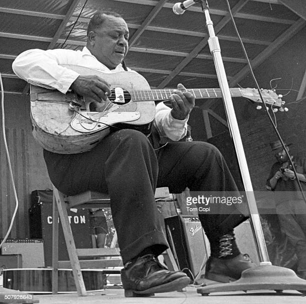 Photo of Big Joe Williams performing in Ann Arbor, Michigan. Circa 1969