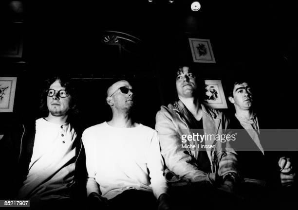 Photo of Bill BERRY and Peter BUCK and Mike MILLS and Michael STIPE and REM LR Mike Mills Michael Stipe Peter Buck Bill Berry posed group shot