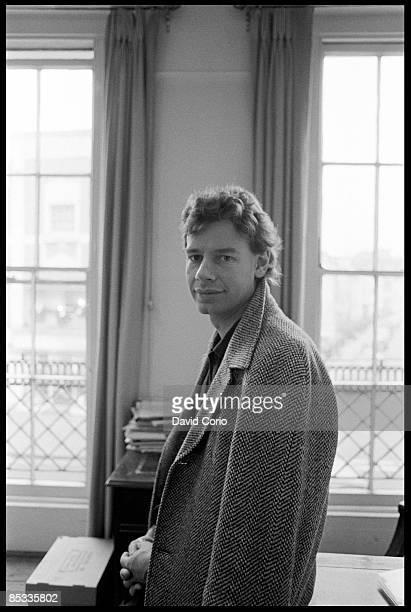 Photo of Bill BRUFORD Posed portrait of drummer Bill Bruford at EG Records