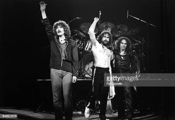 Photo of Bill WARD and Geezer BUTLER and Ronnie DIO and BLACK SABBATH LR Geezer Butler Bill Ward Ronnie Dio performing live onstage