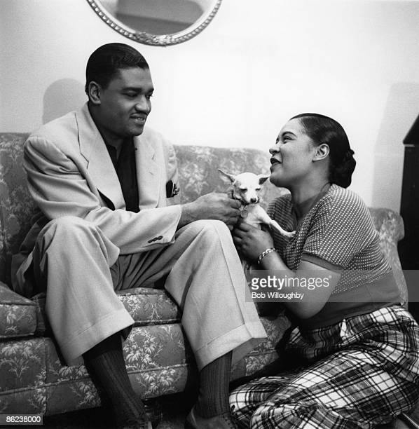 Photo of Billie HOLIDAY w/ her husband dog Peppi