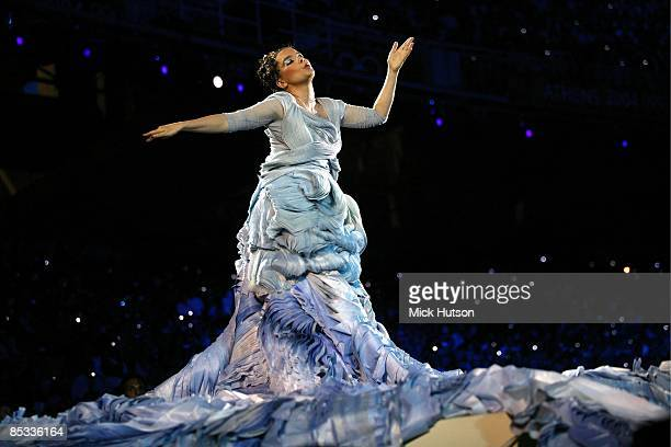 Photo of BJORK; Bjork performing on stage at the opening of the 2004 Athens Olympics