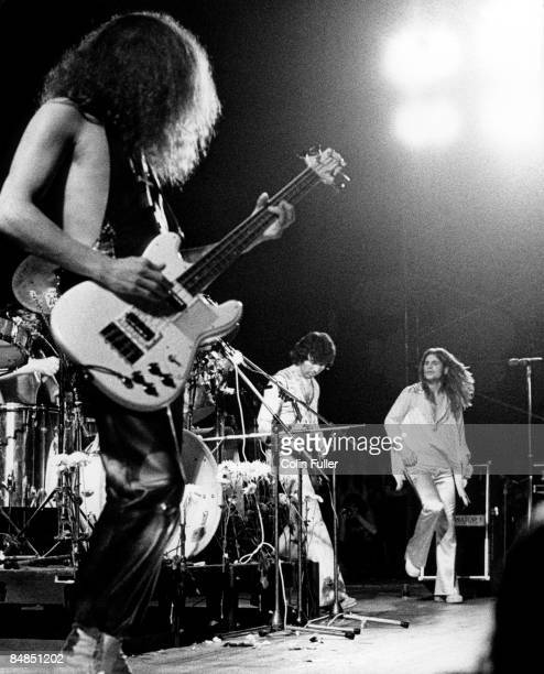 FESTIVAL Photo of BLACK SABBATH and Geezer BUTLER Geezer Butler Tony Iommi Ozzy Osbourne performing live onstage
