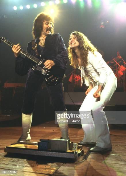 Photo of BLACK SABBATH LR Tony Iommi Ozzy Osbourne performing live onstage