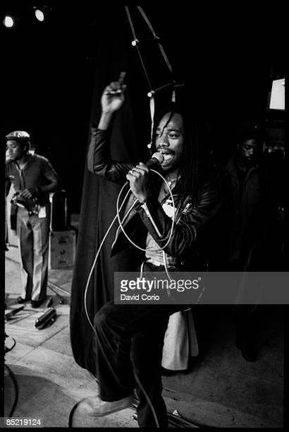 FESTIVAL Photo of BLACK UHURU Michael Rose of Black Uhuru at Glastonbury Festival 18 June 6 1982