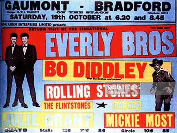 Photo of Bo DIDDLEY and ROLLING STONES and CONCERT POSTERS and EVERLY BROTHERS Concert poster for package tour Supporting The Everly Brothers and Bo...