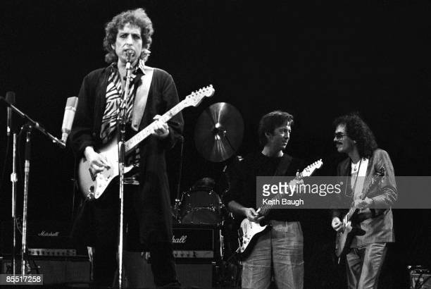 STADIUM Photo of Bob DYLAN and Eric CLAPTON and SANTANA and Carlos SANTANA Bob Dylan Eric Clapton and Carlos Santana performing on stage