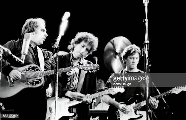 STADIUM Photo of Bob DYLAN and Eric CLAPTON and Van MORRISON Van Morrison Bob Dylan and Eric Clapton performing on stage