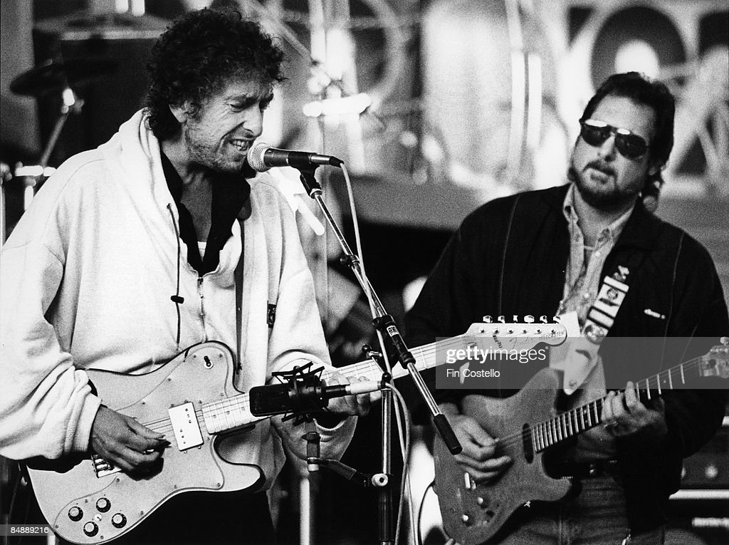 Photo of Bob DYLAN and Steve CROPPER; Bob Dylan & Steve Cropper performing live onstage at the 'Guitar Legends' concert, playing Fender Telecaster custom guitar
