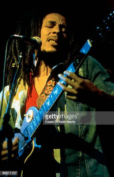 THEATRE Photo of Bob MARLEY Bob Marley performing live on stage playing guitar