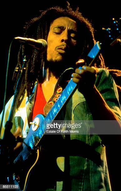 THEATRE Photo of Bob MARLEY Bob Marley performing live on stageplaying guitar