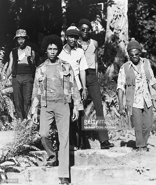 Photo of Bob Marley Jamaica, Bob Marley , L-R: Earl Lindo, Bob Marley, Carlton Barrett, Peter Tosh, Aston Family Man Barrett.