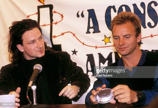 Photo of BONO and STING and U2 Bono and Sting at Amnesty International 'A Conspiracy Of Hope' benefit tour press conference